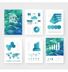 Infographics brochure blue polygon vector