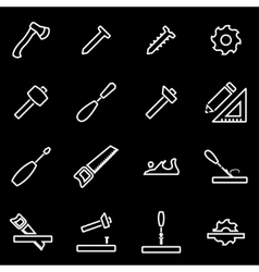 Line carpentry icon set vector