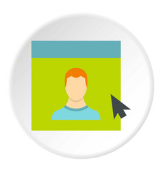 Male avatar in website icon circle vector