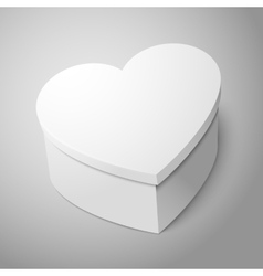 realistic blank big white heart shape box isolated vector image vector image