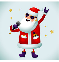 Rock n roll santa character singing santa claus - vector