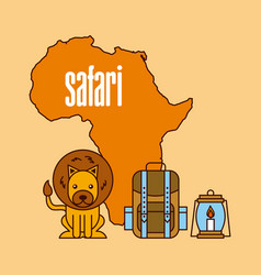 safari travel adventure natural animal map tools vector image