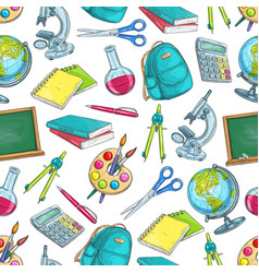 school supplies and education seamless pattern vector image vector image