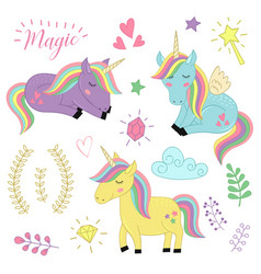 Set of isolated unicorns and elements part 3 vector