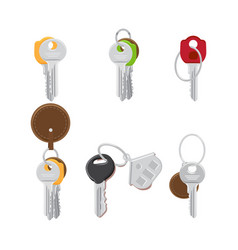 Set of modern door keys on keyring flat vector