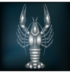 Silver crayfish zodiac cancer sign vector