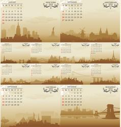 skyline calendar vector image vector image