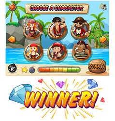 Slot game template with pirate characters vector image