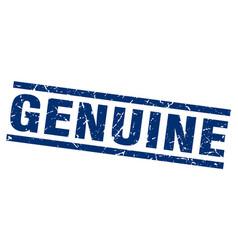 Square grunge blue genuine stamp vector