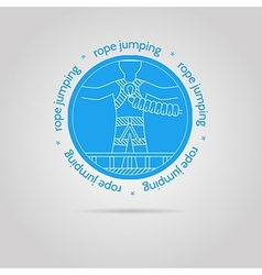 with round blue icon and text for rope jumping vector image vector image