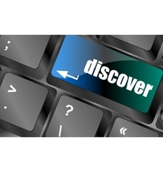 Word discover on computer keyboard keys vector