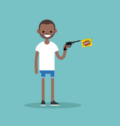 Young black character holding a toy gun with a vector