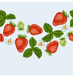 Seamless pattern with red strawberries decorative vector