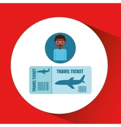 travel girl cartoon tickets plane design graphic vector image