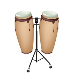 Beautiful musical instrument of congas on stand vector