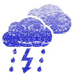 Thunderstorm clouds grunge textured icon vector