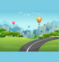 Road to the city full of buildings vector