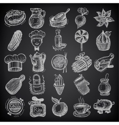 25 sketch doodle icons food on black background vector