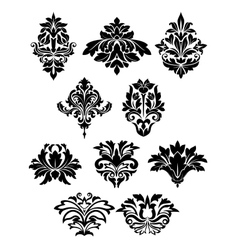 Damask floral elements with curly flower details vector