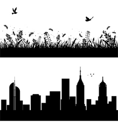 landscape and city silhouettes vector image