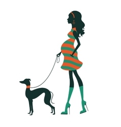 Beautiful woman silhouette with greyhound vector