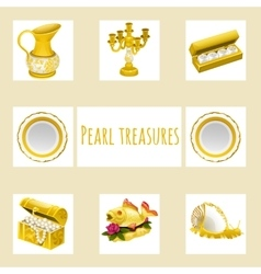 Vintage and precious treasures seven icon vector