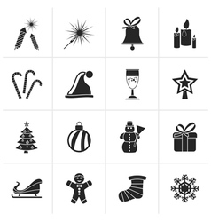 Black christmas and new year icons vector