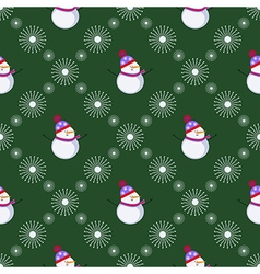 Seamless pattern with snowmen and snowflakes vector