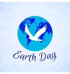 Silhouette of eagle over planet Earth Earth Day vector image