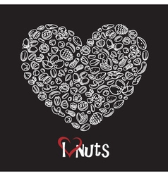 Nuts icon as heart vector