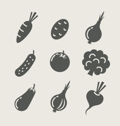 vegetables set of icons vector image