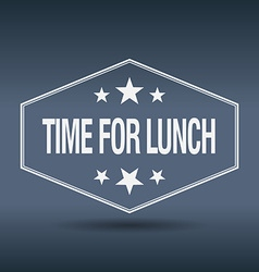 Time for lunch hexagonal white vintage retro style vector