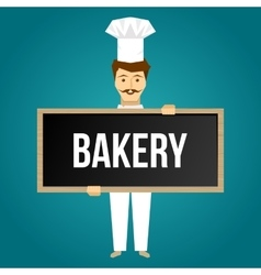 Baker holds signboard design vector