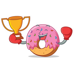boxing winner donut mascot cartoon style vector image vector image