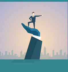 Business man standing on big businessman hand vector