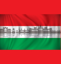 flag of hungary with budapest skyline vector image vector image