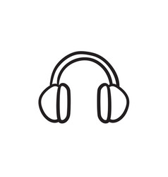 headphone sketch icon vector image