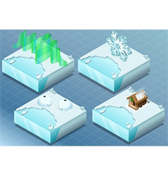 Isometric arctic igloo aurora sauna snow flake vector