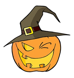 Jack o lantern wearing a witch hat winking vector