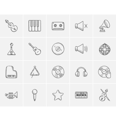Media sketch icon set vector image vector image