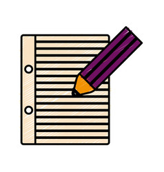 Pencil and notebook page icon vector