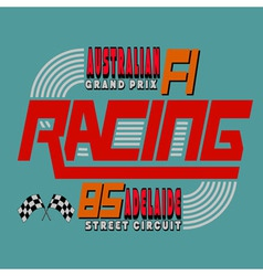 Racing Car Typography T-shirt Graphics Design vector image