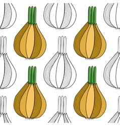 Seamless black white pattern with onions for vector