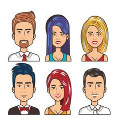 set of people happy men and women portrait design vector image