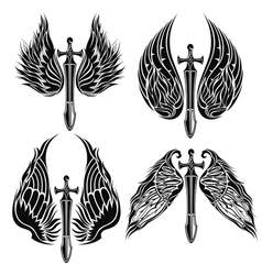 Set of Wings and Swords vector image vector image