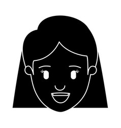 Silhouette black front view face closeup woman vector