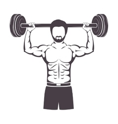 Silhouette muscle man lifting a disc weights vector