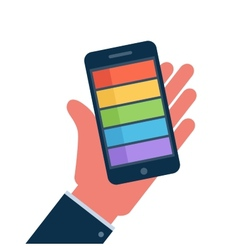 Smartphone on hand flat icon vector image