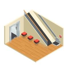 Stairway elevator isometric interior vector