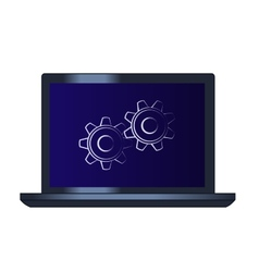 Symbol of the cogwheels on the laptop computer vector